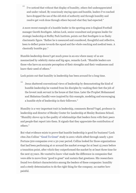 The value of humility in Leadership Forbes Magazine press release